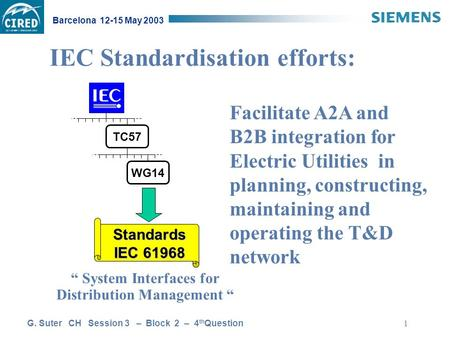 "G. Suter CH Session 3 – Block 2 – 4 th Question Barcelona 12-15 May 2003 1 "" System Interfaces for Distribution Management "" TC57 WG14 Standards IEC 61968."