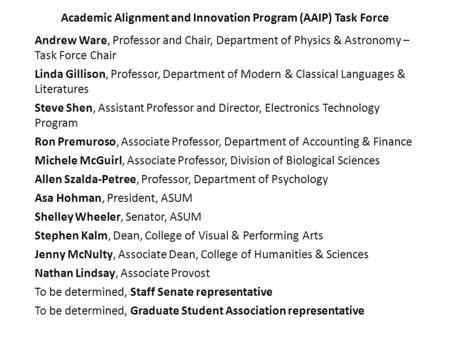 Academic Alignment and Innovation Program (AAIP) Task Force Andrew Ware, Professor and Chair, Department of Physics & Astronomy – Task Force Chair Linda.