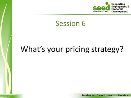 Business Development Services 1 What's your pricing strategy? Session 6.