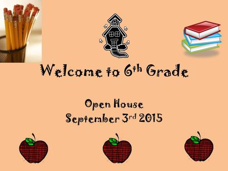 Welcome to 6 th Grade Open House September 3 rd 2015.