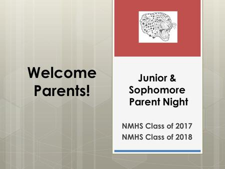 Junior & Sophomore Parent Night NMHS Class of 2017 NMHS Class of 2018 Welcome Parents!