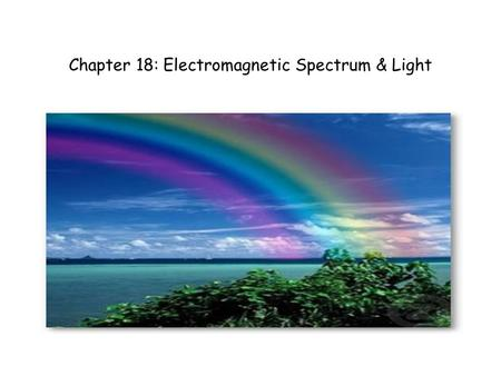 Chapter 18: Electromagnetic Spectrum & Light. 18.1: Electromagnetic Waves Question: What do x-ray machines, microwave ovens, and heat lamps have in common.