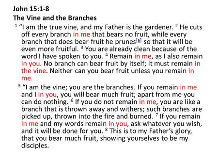 "John 15:1-8 The Vine and the Branches 1 ""I am the true vine, and my Father is the gardener. 2 He cuts off every branch in me that bears no fruit, while."