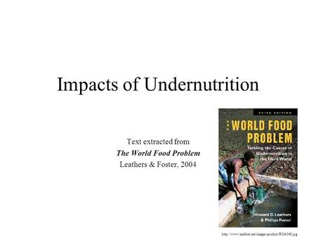 Impacts of Undernutrition Text extracted from The World Food Problem Leathers & Foster, 2004