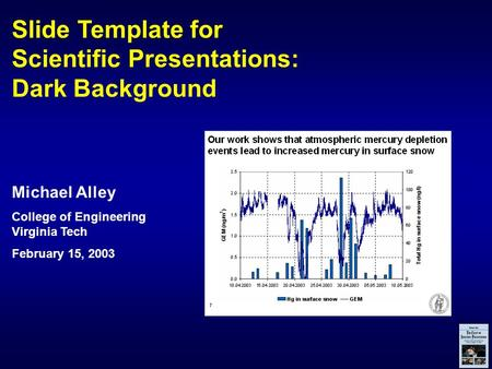 Slide Template for Scientific Presentations: Dark Background Michael Alley College of Engineering Virginia Tech February 15, 2003.