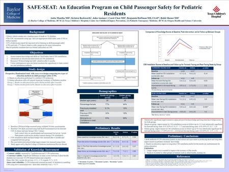 POSTER TEMPLATE BY: www.PosterPresentations.com SAFE-SEAT: An Education Program on Child Passenger Safety for Pediatric Residents Anita Mantha MD 1, Kristen.