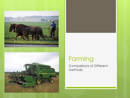 Farming Comparisons of Different Methods. Subsistence  Growing food for your own use.
