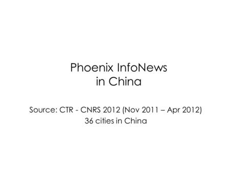 Phoenix InfoNews in China Source: CTR - CNRS 2012 (Nov 2011 – Apr 2012) 36 cities in China.
