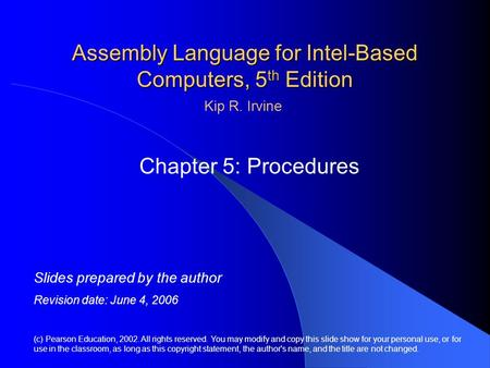 Assembly Language for Intel-Based Computers, 5 th Edition Chapter 5: Procedures (c) Pearson Education, 2002. All rights reserved. You may modify and copy.