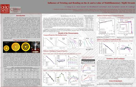Influence of Twisting and Bending on the Jc and n-value of Multifilamentary MgB2 Strands Y. Yang 1,G. Li 1, M.D. Susner 2, M. Rindfleisch 3, M.Tomsic 3,
