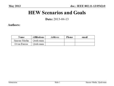 Doc.: IEEE 802.11-13/0542r0 SubmissionSimone Merlin, QualcommSlide 1 HEW Scenarios and Goals Date: 2013-04-13 Authors: May 2013.