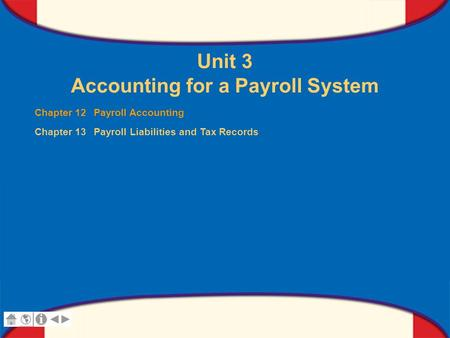0 Glencoe Accounting Unit 3 Chapter 12 Copyright © by The McGraw-Hill Companies, Inc. All rights reserved. Unit 3 Accounting for a Payroll System Chapter.