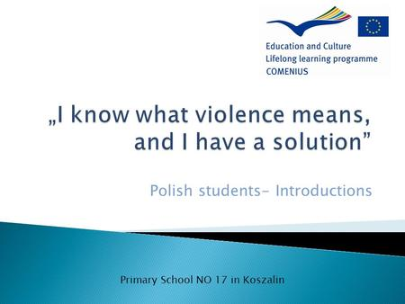 Polish students- Introductions Primary School NO 17 in Koszalin.