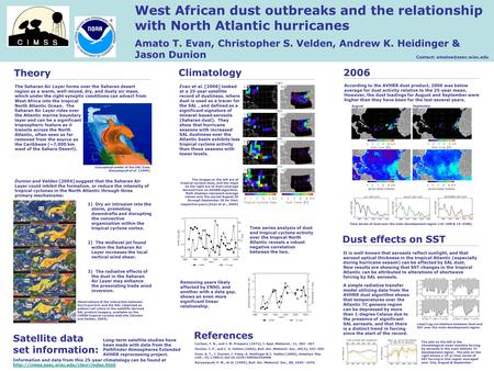 Theory West African dust outbreaks and the relationship with North Atlantic hurricanes Amato T. Evan, Christopher S. Velden, Andrew K. Heidinger & Jason.