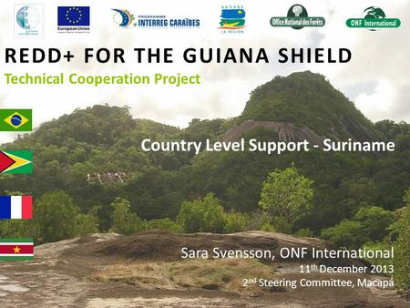 REDD+ FOR THE GUIANA SHIELD Technical Cooperation Project Country Level Support - Suriname Sara Svensson, ONF International 11 th December 2013 2 nd Steering.