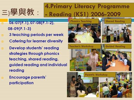 4.Primary Literacy Programme - Reading (KS1) 2006-2009  06-07(P.1), 07-08(P.1-2), 08-09(P.1-3)  3 teaching periods per week  Catering for learner diversity.
