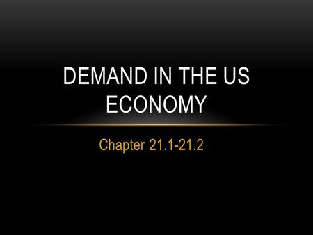 Chapter 21.1-21.2 DEMAND IN THE US ECONOMY. DEMAND Demand is the amount consumers are willing to buy at all prices. Consumers control the demand-side.
