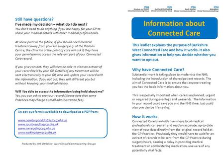 This leaflet explains the purpose of Berkshire West Connected Care and how it works. It also gives information to help you decide whether you want to opt.