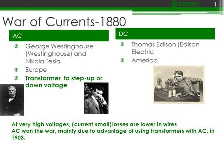 War of Currents-1880 AC DC George Westinghouse (Westinghouse) and Nikola Tesla Europe Transformer to step-up or down voltage Thomas Edison (Edison Electric.