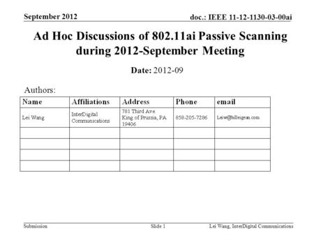 Submission doc.: IEEE 11-12-1130-03-00ai September 2012 Lei Wang, InterDigital CommunicationsSlide 1 Ad Hoc Discussions of 802.11ai Passive Scanning during.