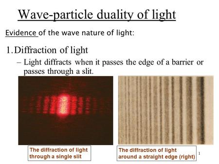 1 1.Diffraction of light –Light diffracts when it passes the edge of a barrier or passes through a slit. The diffraction of light through a single slit.