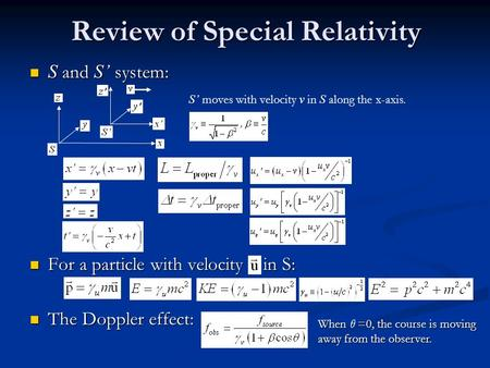 Review of Special Relativity S and S' system: S and S' system: For a particle with velocity in S: For a particle with velocity in S: The Doppler effect: