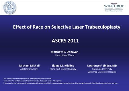 Effect of Race on Selective Laser Trabeculoplasty  1st author has no financial interest in the subject matter of this poster.  2nd and 3rd co-authors.