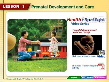 Prenatal Development and Care (2:38) Click here to launch video Click here to download print activity.