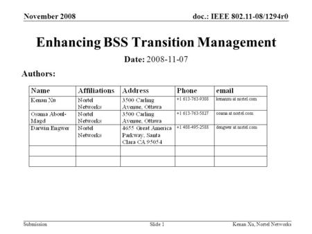 Doc.: IEEE 802.11-08/1294r0 Submission November 2008 Kenan Xu, Nortel NetworksSlide 1 Enhancing BSS Transition Management Date: 2008-11-07 Authors:
