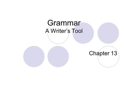 Grammar A Writer's Tool Chapter 13. Components of Grammar Instruction Parts of speech Parts of sentences Types of sentences Capitalization & punctuation.