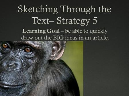 Sketching Through the TextSketching Through the Text This strategy asks you to draw your thinking in the margins while reading text, rather than jotting.