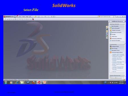 Ken Youssefi Introduction to Engineering – E10 1 SolidWorks Select File.