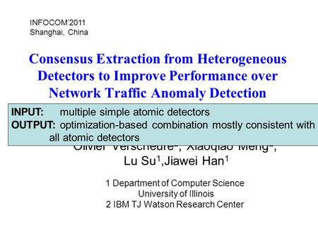 Consensus Extraction from Heterogeneous Detectors to Improve Performance over Network Traffic Anomaly Detection Jing Gao 1, Wei Fan 2, Deepak Turaga 2,