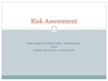 THE PRECAUTIONARY PRINCIPLE AND COST-BENEFIT ANALYSIS Risk Assessment.