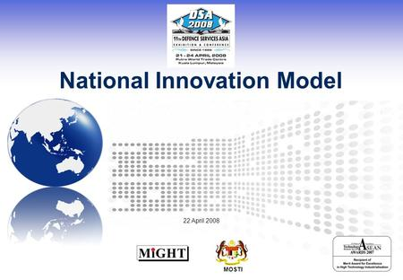 National Innovation Model MOSTI 22 April 2008. Page 2 © MIGHT 2008 Proprietary & Confidential Looking Back, Moving Forward Agriculture Based Economy Production.