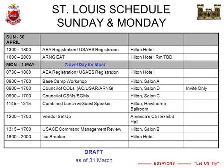 ESSAYONS Let US Try ST. LOUIS SCHEDULE SUNDAY & MONDAY SUN - 30 APRIL 1300 – 1800AEA Registration / USAES RegistrationHilton Hotel 1600 – 2000ARNG EATHilton.