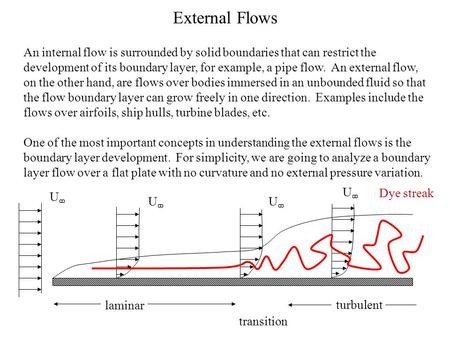External Flows An internal flow is surrounded by solid boundaries that can restrict the development of its boundary layer, for example, a pipe flow. An.