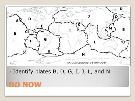 DO NOW Identify plates B, D, G, I, J, L, and N. Layers of the Earth The diagram to the right shows two ways to classify Earth's layers. One way, shown.