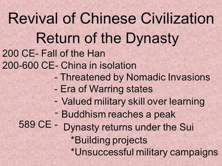 Revival of Chinese Civilization Return of the Dynasty 200 CE- Fall of the Han 200-600 CE- China in isolation - Threatened by Nomadic Invasions - Era of.
