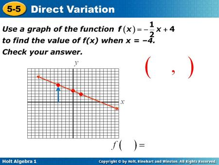 Holt Algebra 1 5-5 Direct Variation Use a graph of the function to find the value of f(x) when x = –4. Check your answer.