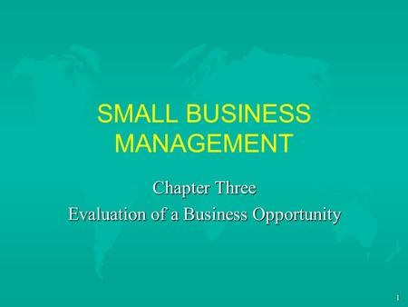 1 SMALL BUSINESS MANAGEMENT Chapter Three Evaluation of a Business Opportunity.