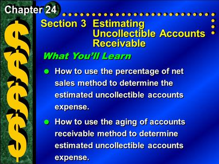 Section 3Estimating Uncollectible Accounts Receivable What You'll Learn  How to use the percentage of net sales method to determine the estimated uncollectible.