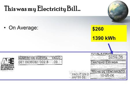 This was my Electricity Bill… On Average: $260 1390 kWh.