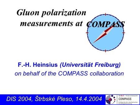 F.-H. Heinsius (Universität Freiburg) on behalf of the COMPASS collaboration Gluon polarization measurements at DIS 2004, Štrbské Pleso, 14.4.2004.