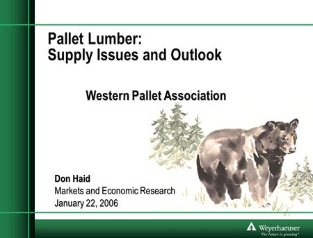 Pallet Lumber: Supply Issues and Outlook Western Pallet Association Don Haid Markets and Economic Research January 22, 2006.