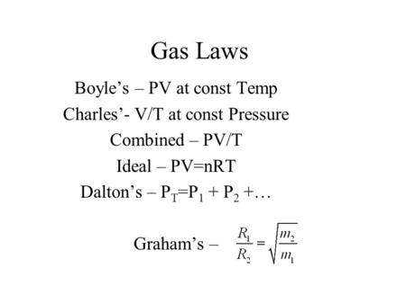 Gas Laws Boyle's – PV at const Temp Charles'- V/T at const Pressure Combined – PV/T Ideal – PV=nRT Dalton's – P T =P 1 + P 2 +… Graham's –