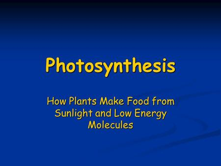 Photosynthesis How Plants Make Food from Sunlight and Low Energy Molecules.