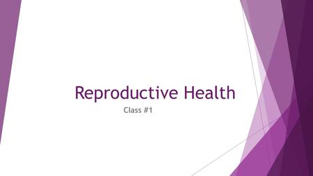 Reproductive Health Class #1. What Is Reproductive Health ?