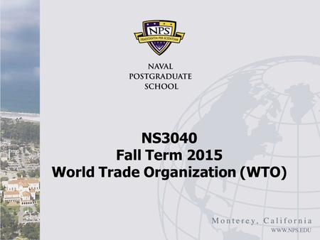 NS3040 Fall Term 2015 World Trade Organization (WTO)