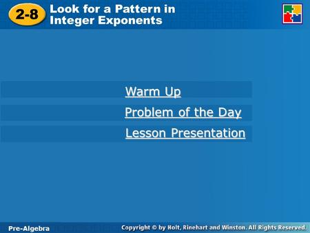 2-8 Warm Up Problem of the Day Lesson Presentation